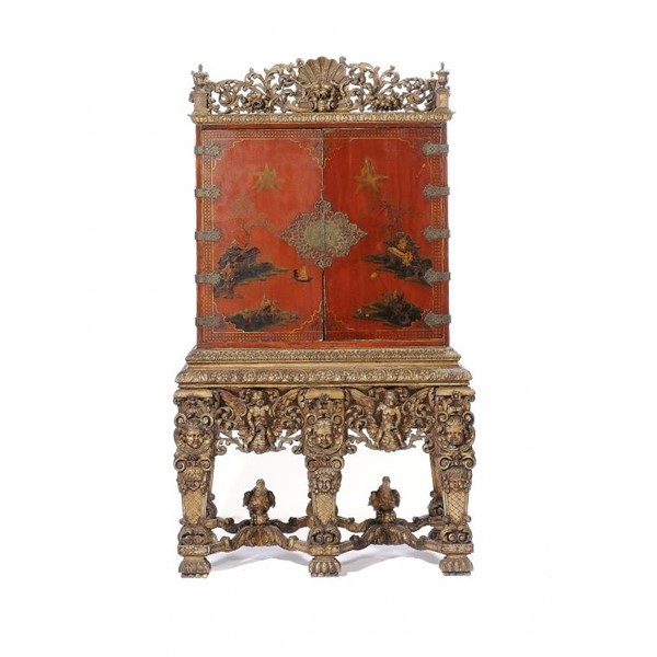 A WILLIAM III SCARLET JAPANNED CABINET Image