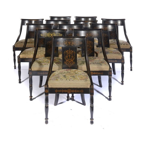REGENCY BLACK AND GILT JAPANNED CHAIRS Image
